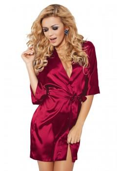 Къс сатенен халат в червен цвят
