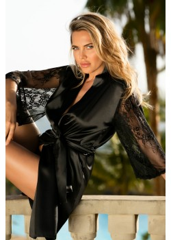 Сатенен халат в черен цвят Elizabeth
