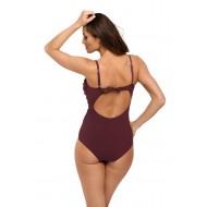 Цял бански костюм в цвят патладжан Gabrielle M-543-10