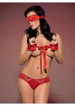 Еротичен комплект от три части в червено Secred
