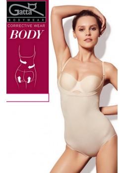 Моделиращо боди с отворен бюст в телесен цвят