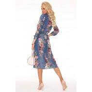 Елегантна миди рокля в син цвят Annemarie