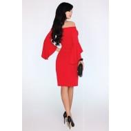 Елегантна миди рокля с разкроен ръкав