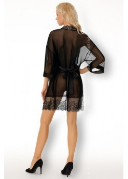 Еротичен халат с прашки в черно Mreanim