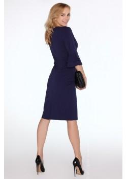 Елегантна миди рокля в тъмносин цвят