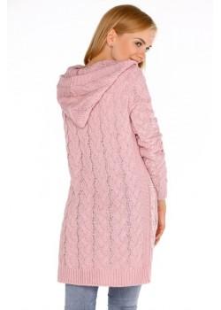 Дамска жилетка с качулка в розово Jolannda