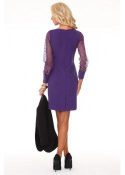 Елегантна мини рокля в лилав цвят