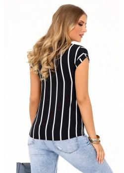 Елегантна блуза Ouranila в черен цвят на бели райета