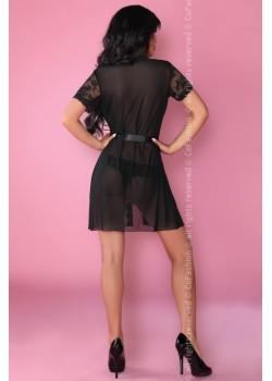 Еротичен халат с прашки в черно Bates