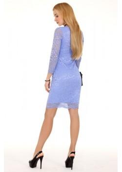 Дантелена мини рокля в син цвят