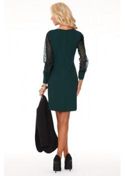 Елегантна мини рокля в зелен цвят