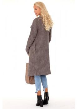 Дълга дамска жилетка в цвят мока Mayamino
