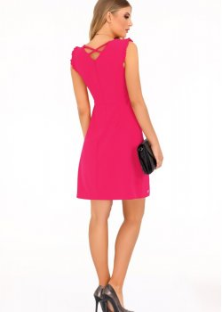 Елегантна къса рокля в цвят фуксия