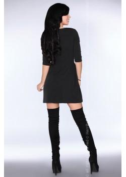 Ежедневна мини рокля в черен цвят