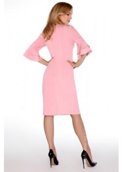 Елегантна миди рокля в розов цвят