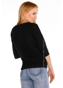 Дамски черен пуловер с 3/4 ръкав Elpidana