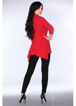Асиметрично дамско сако в червено CG026