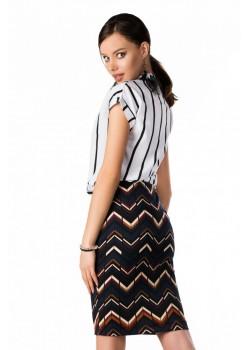 Елегантна блуза Ouranila в бял цвят на райета