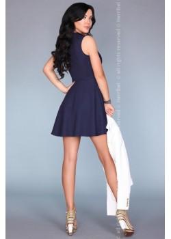 Елегантна къса рокля в син цвят