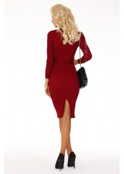 Елегантна миди рокля в цвят бордо Anselmi