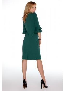 Елегантна миди рокля в зелен цвят