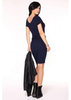 Ежедневна миди рокля в тъмносин цвят