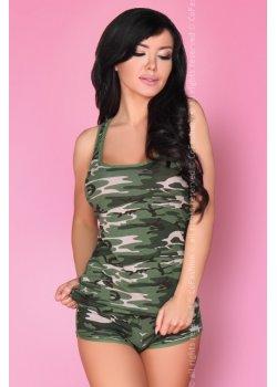 Лятна дамска пижама в зелен камуфлаж