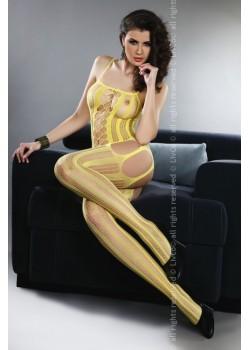 Целокупно мрежесто боди в жълт цвят Almas