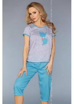 Дамска пижама в цвят тюркоаз