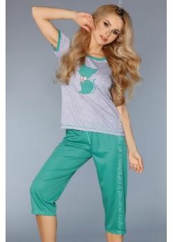 Дамска пижама в зелен цвят