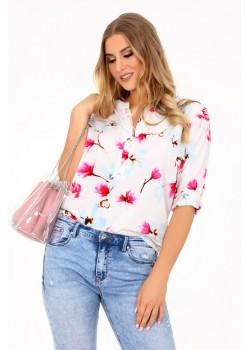 Дамска риза Majkena в бял цвят с флорални мотиви