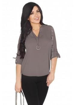 Дамска сива блуза с 7/8 ръкав Cayley