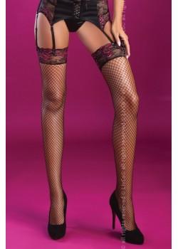 Дамски мрежести дълги чорапи в черно Holly