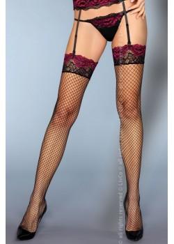 Дамски мрежести дълги чорапи в черно Perry