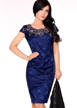 Елагантна миди рокля в синьо Dani