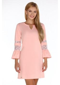 Елегантна къса рокля в розово Megarnina