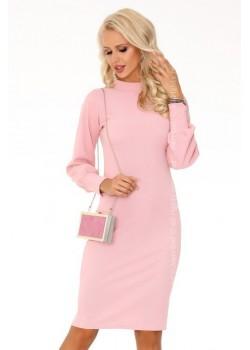 Елегантна миди рокля в розово Nilimana