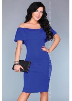 Елегантна миди рокля в син цвят