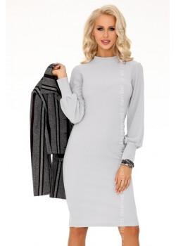 Елегантна миди рокля в сиво Nilimana