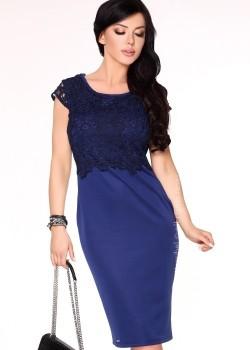 Елегантна миди рокля в тъмносиньо Meira
