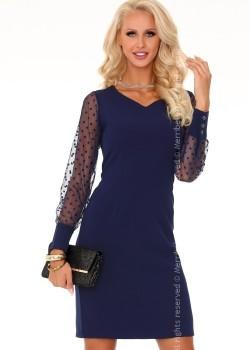 Елегантна мини рокля в тъмносин цвят