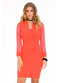 Елегантна рокля Nisamina в цвят корал