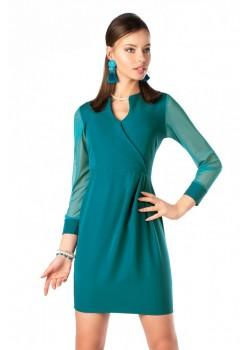 Елегантна рокля Nisamina в цвят тюркоаз