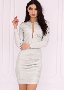 Елегантна рокля в сребрист цвят Aporva