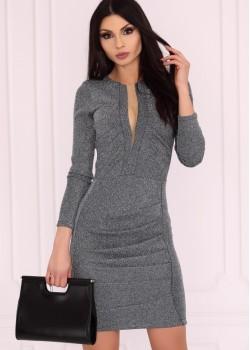 Елегантна рокля в сребристосив цвят Aporva