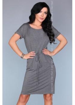 Ежедневна миди рокля в сив цвят