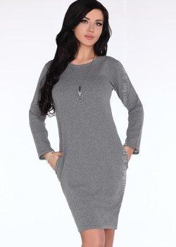 Ежедневна миди рокля в сиво Colenna