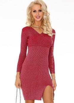 Ежедневна мини рокля в цвят бордо