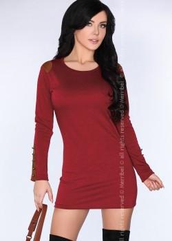 Ежедневна мини рокля в цвят бордо CG002
