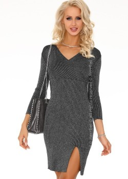 Ежедневна мини рокля в сив цвят